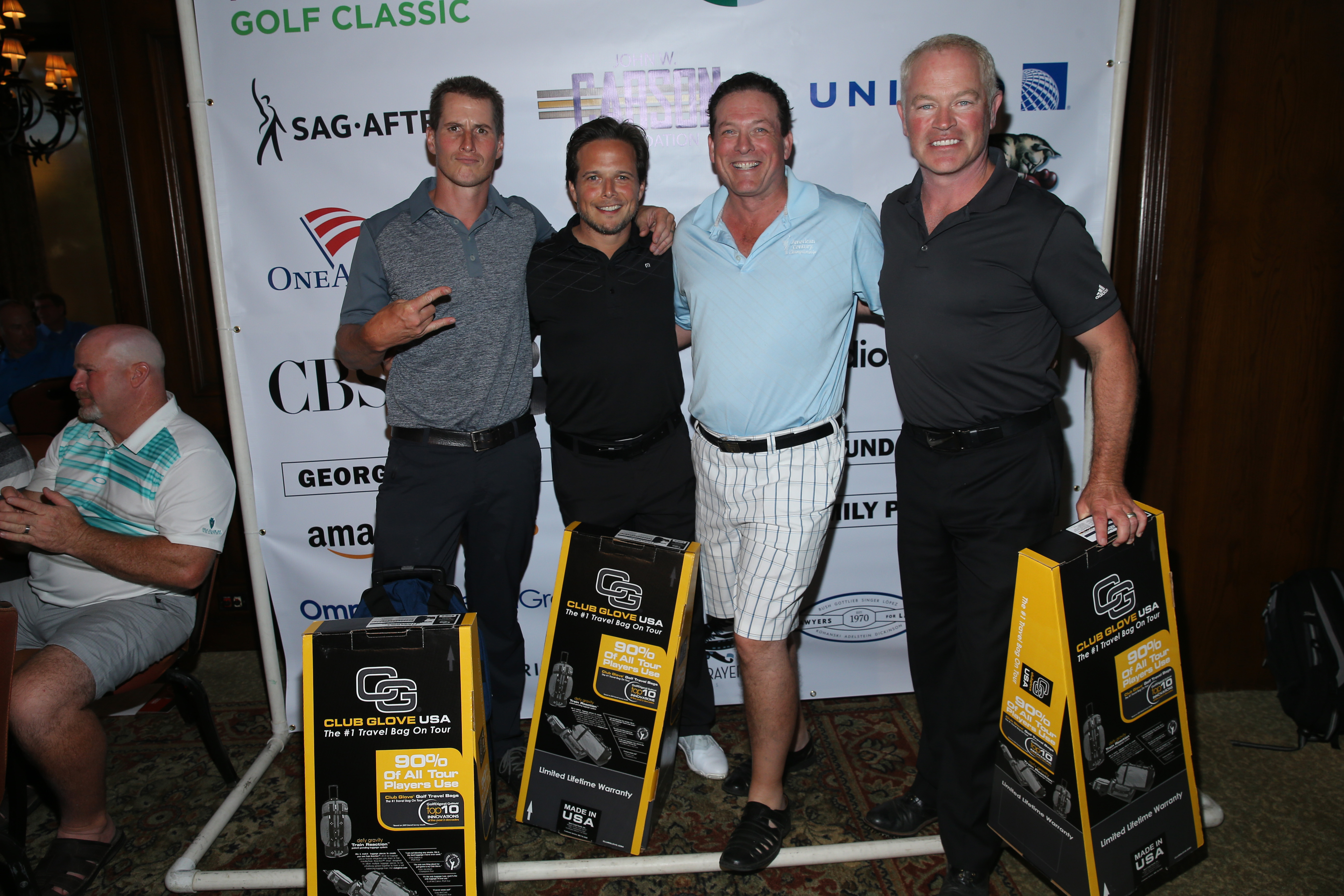 (L-R) Host Brendan Fehr, host Scott Wolf, Anthony Snow and actor Neal McDonough, second place winners of the low net score, pose with prizes during The Screen Actors Guild Foundation's 6th Annual Los Angeles Golf Classic on June 8, 2015 in Burbank, California.  (Photo by Mark Davis/Getty Images for The Screen Actors Guild Foundation)