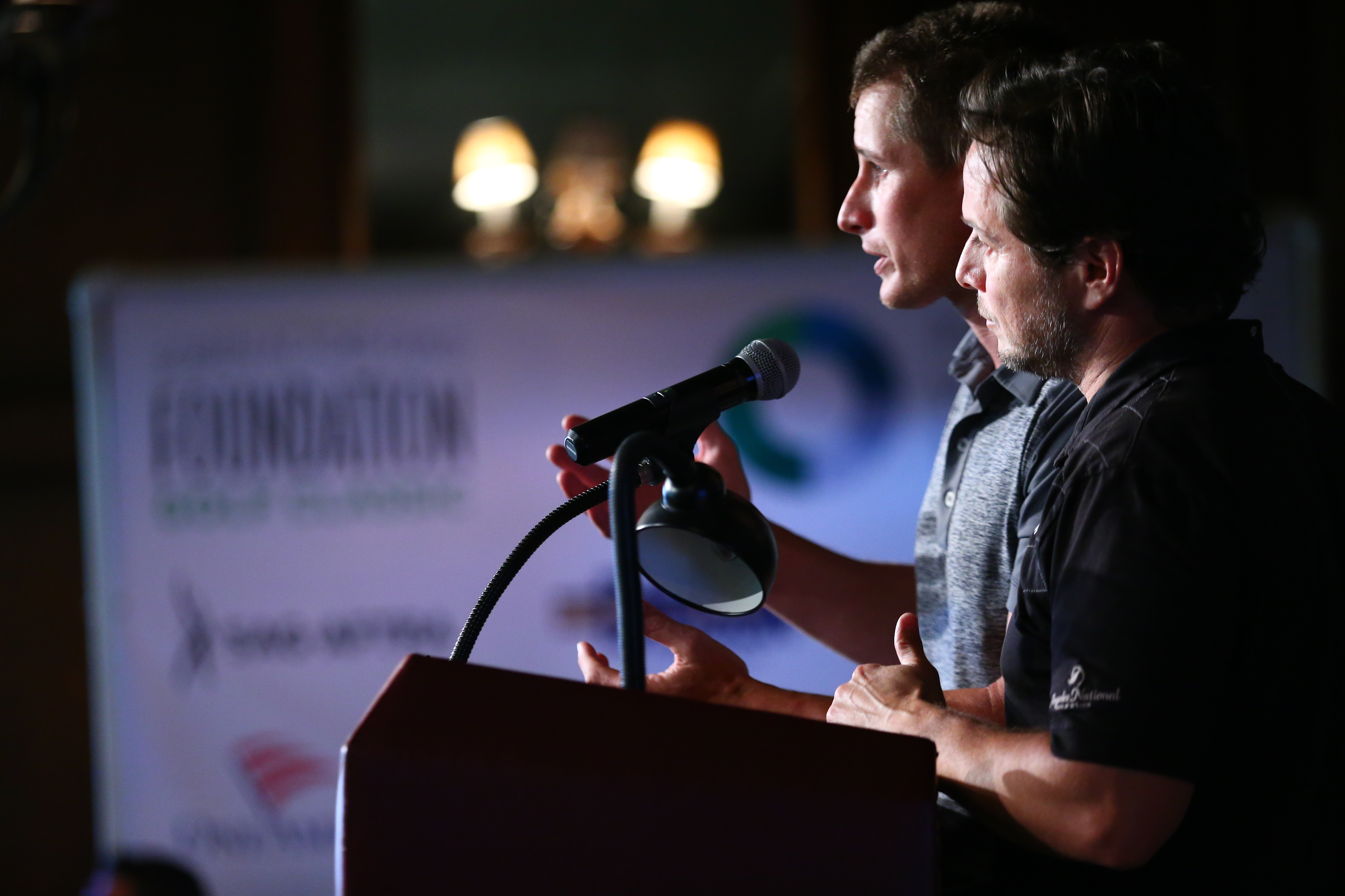 Hosts Brendan Fehr and Scott Wolf speak at the Screen Actors Guild Foundation's 6th Annual Los Angeles Golf Classic on June 8, 2015 in Burbank, California.  (Photo by Mark Davis/Getty Images for The Screen Actors Guild Foundation)