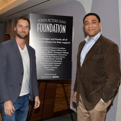 THE BLACKLIST'S Ryan Eggold and Harry Lennix attend the opening of the SAG Foundation's New York Actors Center, April 30, 2014. Photo by Andrew Walker/Getty Images