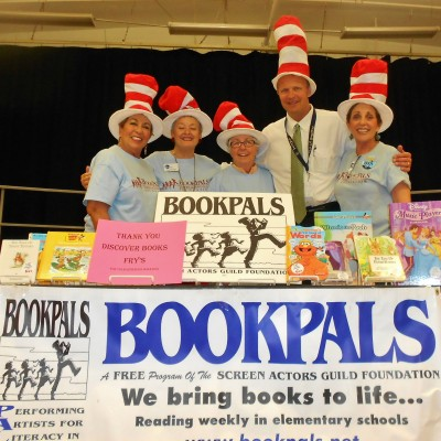 BookPALS at Rose Lane Elementary School for a book giveaway with Principal, Dr. Morkert