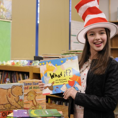 Fatima Ptacek (Actor/BookPAL)  reading on Dr. Seuss's birthday