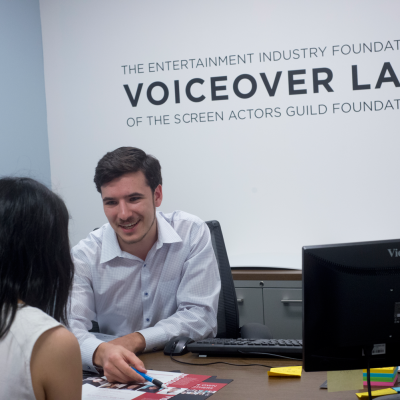 EIF Voiceover Lab Administrator Greg Stankevich welcomes new actors to the facility. Photo by Luke Fontana.