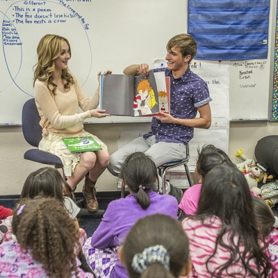 "Lucas Cruikshank and Victory Van Tuyl (""Marvin Marvin"") read to fourth and fifth graders at Crescent Heights Elementary in Los Angeles with the Screen Actors Guild Foundation BookPALS on Read Across America Day. Friday, March 1, 2013. 
