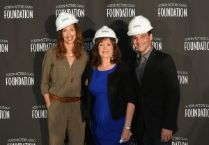 NEW YORK, NY - APRIL 28:  (L-R) Alysia Reiner, SAG Foundation Executive Director Cyd Wilson and David Basche attend the SAG Foundation breaks ground on Actors Center Signature Space at 247 West 54th Street In New York on April 28, 2015 in New York City.  (Photo by Andrew Toth/Getty Images for SAG Foundation)