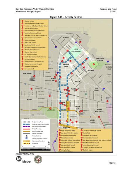 Principales centros de actividad en San Fernando Valley.