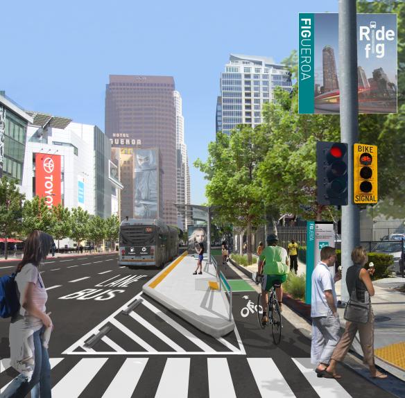Figueroa y la calle 11. Dibujo de la Ciudad de Los Ángeles.
