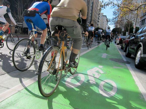 Carril verde para ciclistas en Spring St. Foto: Jances Certeza.