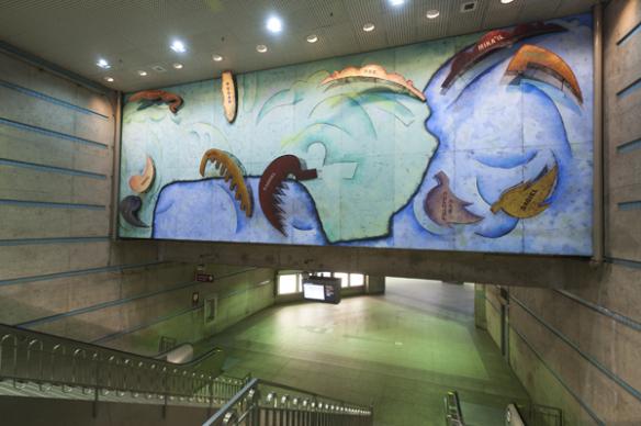 Vista general del mural después de la limpieza y con nueva iluminación.