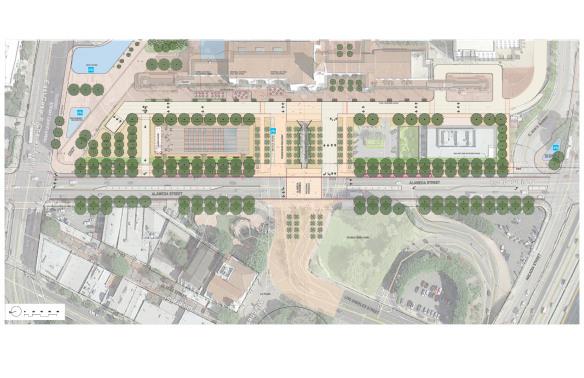 El plan considera a largo plazo abrir el acceso al sitio  a lo largo de la esquina de Cesar Chavez y Alameda y cerrando parte de Los Angeles Street.