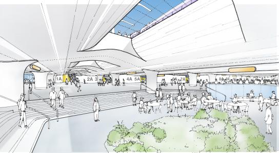 Vista de lo que sería el nuevo vestíbulo