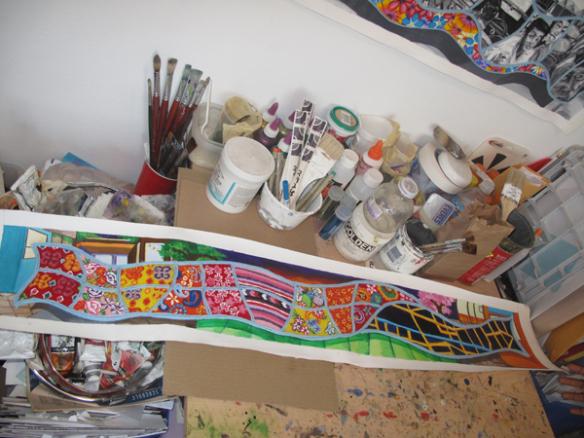 La obra original de la artista en su estudio.