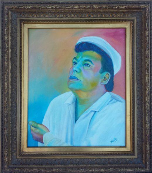 Retrato de juan Gabriel elaborado por el pintor Manuel Benítez.