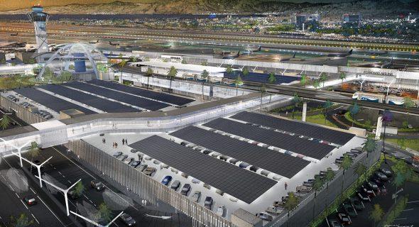 Ilustración de LAWA del sistema de transporte automatizado que dará servicio al LAX.