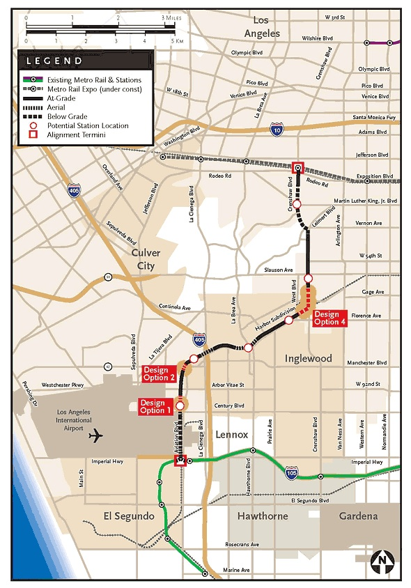 A Crenshaw light rail line would run between the future Expo Line and the Green Line