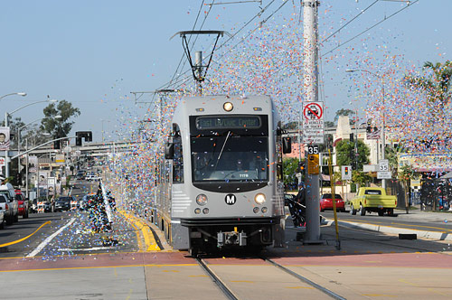 Upon arrival at the East L.A. Civic Center, the Gold Line was also showered in confetti