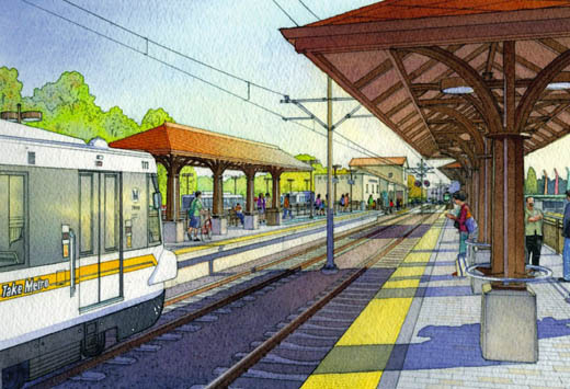 A rendering of the future Gold Line station in Monrovia