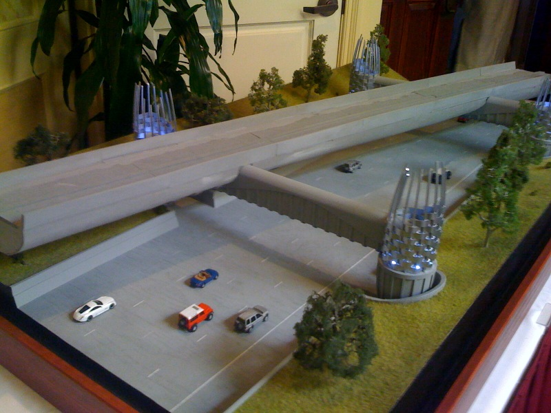 An architect's model of the bridge for the Foothill Bridge over the eastbound lanes of the 210 freeway