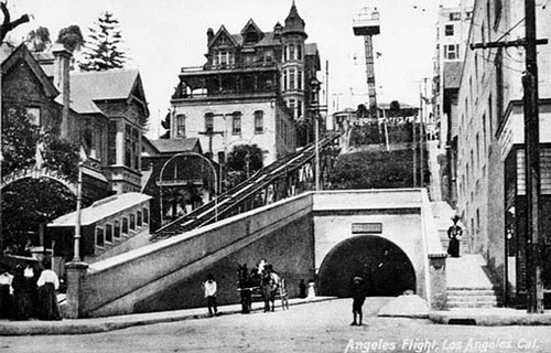 Angels Flight with tower, as originally built.