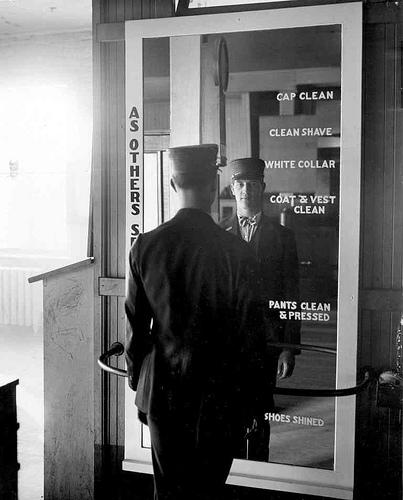 Man at Division 3 mirror: 1930s.