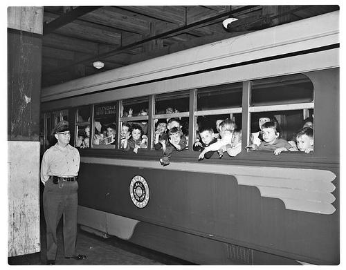 School children on last subway ride, 1955.