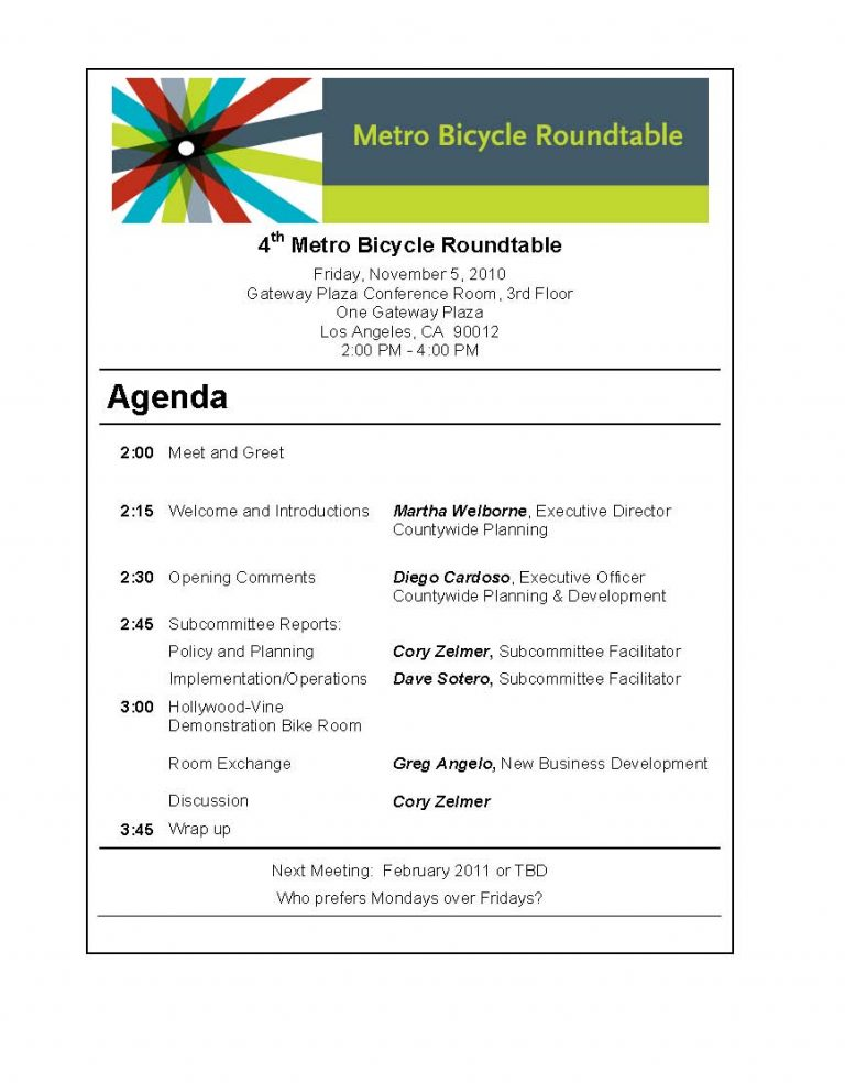 4th Bicycle Roundtable Agenda