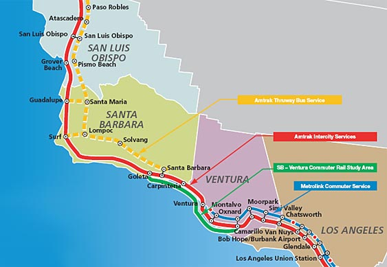 A number of rail services operate on the LOSSAN North corridor. Amtrak's Pacific Surfliner (operated with state funding) is the primary intercity passenger rail service, and runs between San Luis Obispo, Santa Barbara, Ventura, and Los Angeles (with additional service to Orange County and San Diego). Amtrak's Coast Starlight (service between Los Angeles, the Bay Area, and Portland/Seattle, in addition to stops within the LOSSAN North corridor) also operates on the corridor. Commuter rail service between Los Angeles and Ventura is provided by Metrolink. UP operates freight and goods movement service along the corridor. Map: Figure ES–1, LOSSAN North Study Area from LOSSAN North Corridor Strategic Plan.