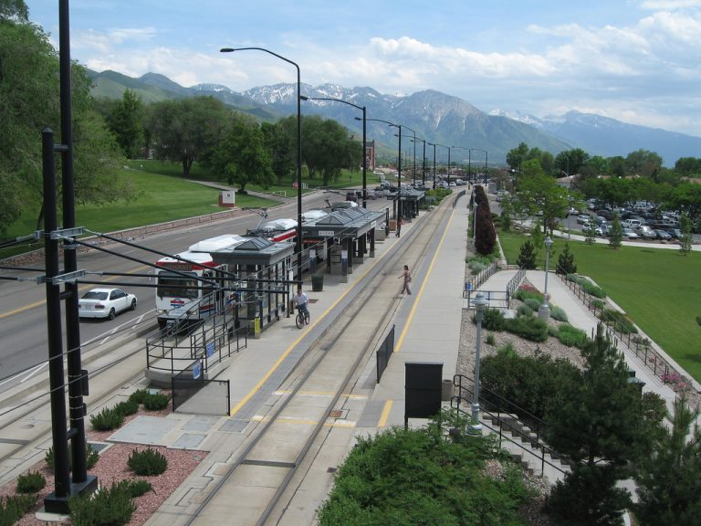 Light rail in the Salt Lake City basin. Photo by Nancy White, via Flickr.
