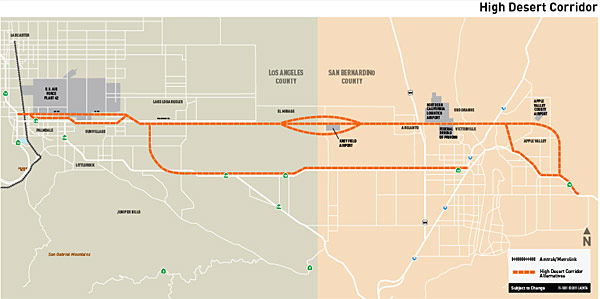 Illustration: High Desert Corridor alternatives represented by orange dotted lines. (metro.net/hdc)