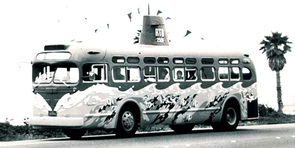 "RTD's""Street Fleet"" motorcoaches that carried beach-goers to Santa Monica in 1974 were painted to look like submarines."