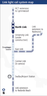 The existing Link Light Rail system with future extension.