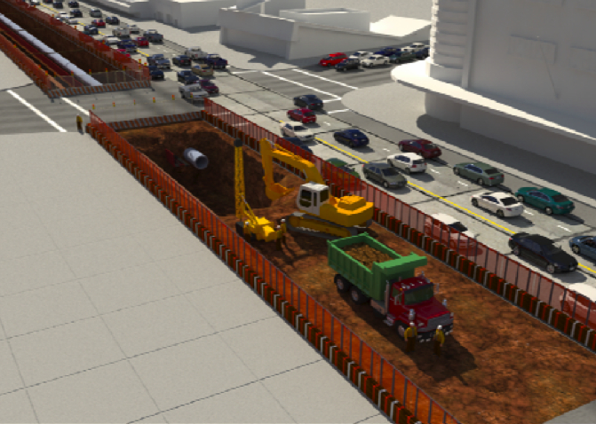 A rendering of what excavation work may look like on the Westside Subway Extension.