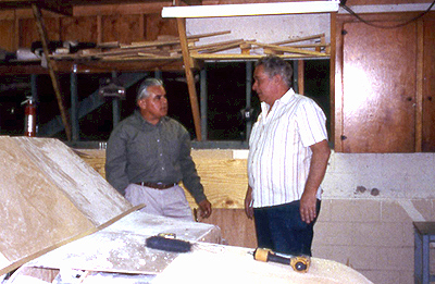 Magu Lujan (left) working on the artwork for Hollywood/Vine Station in 1997.