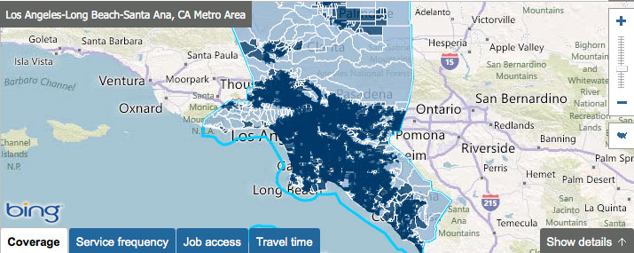 L.A.'s transit coverage. All that dark blue? Transit access.
