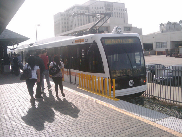 Students board the Gold Line.
