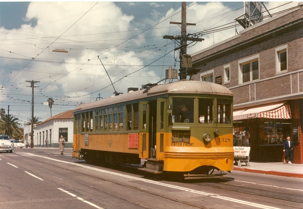A streetcar at Crenshaw & 54th in 1955. Photo by Alan Weeks, via Metro Library's Flickr page.