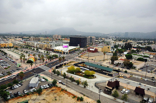 NoHo is a surprisingly transit oriented and urban neighborhood for the San Fernando Valley. Picture abouve, the North Hollywood Red Line and Orange Line Stations. Photo by srd515 via Flickr.
