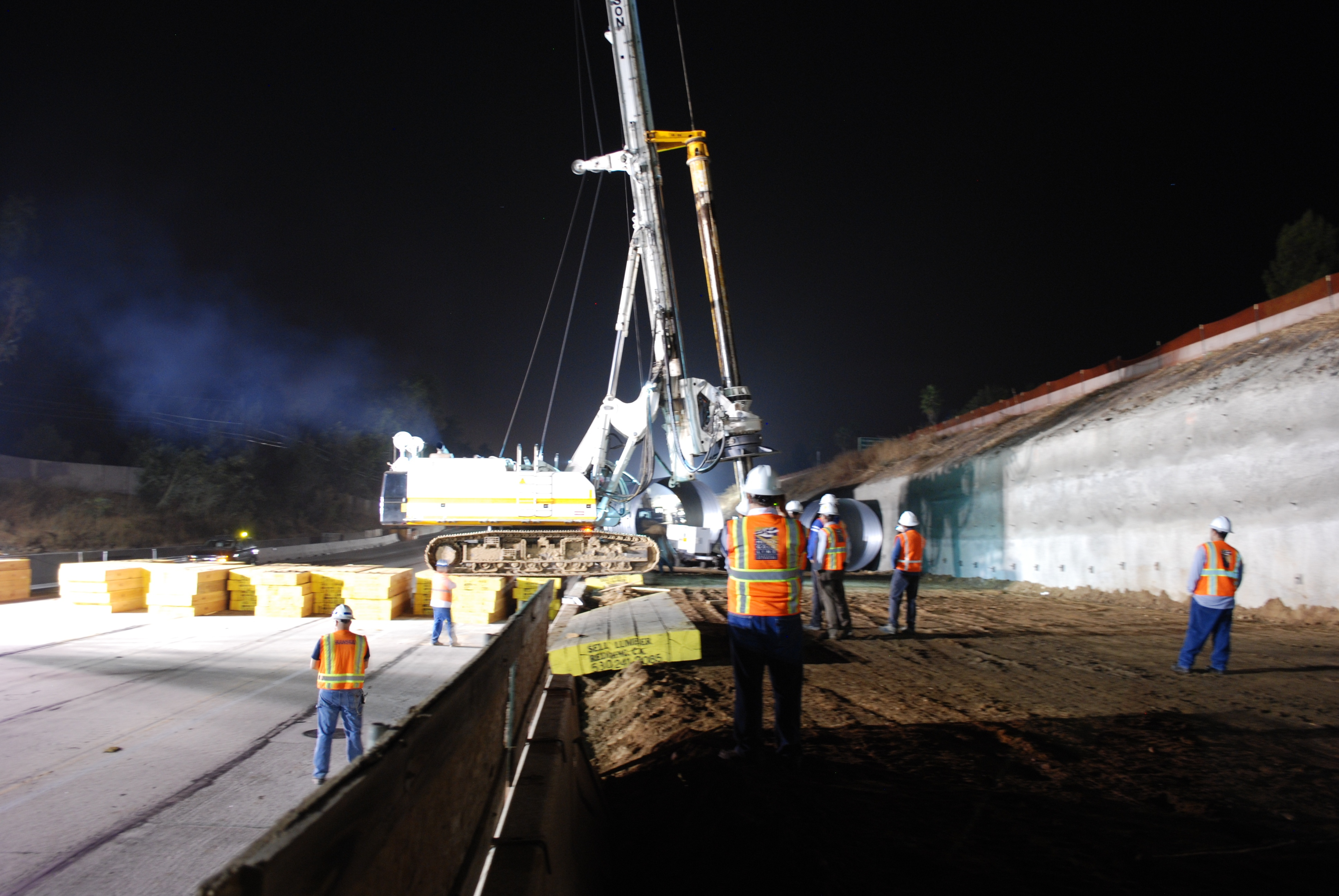 The SR 100 Soilmec Drill Rig makes its way across the eastbound 210 last month to complete the foundations for two of the bridge's three abutments.