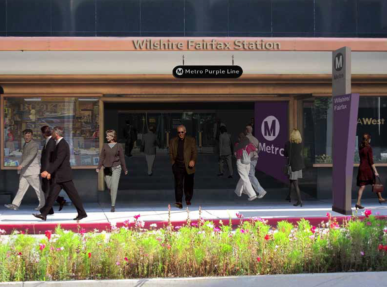 Rendering of the Wilshire/Western station at the ground level of the May Company building.