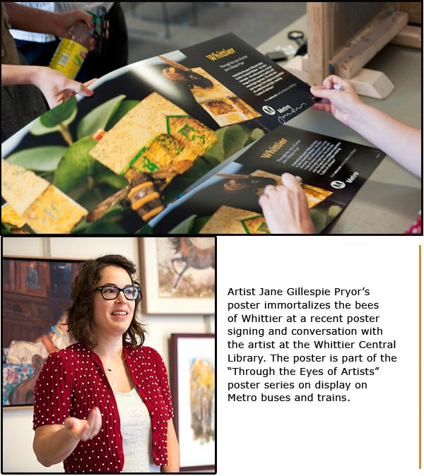 Whittier poster-signing with artist Jane Gillespie Pryor