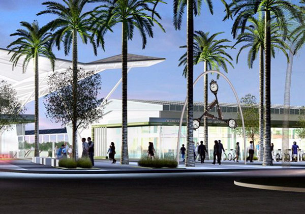 Lipski's 30' high clock tower will be installed in the entry plaza of the El Monte Transit Center. Rendering by RNL Architects.