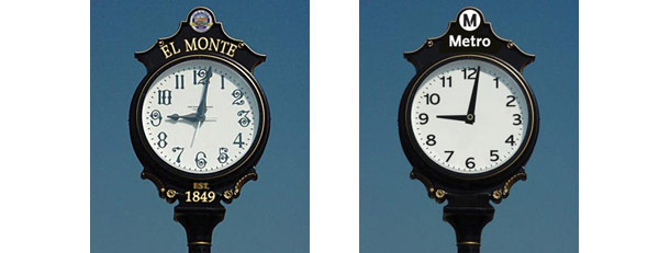 "One side of the clock face, as customers enter Metro and the bus terminal, is modern and says ""Metro."" The opposite clock face, as customers leave the station and enter the community says ""El Monte"" and incorporates the city seal."