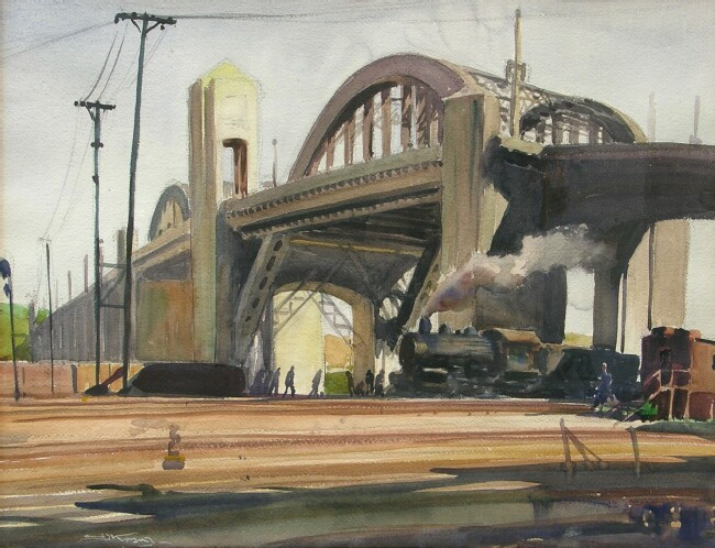 A 1930s-era painting of the 6th Street Viaduct by the artist Emil Kosa, Jr. Credit: George Stern Fine Arts gallery.