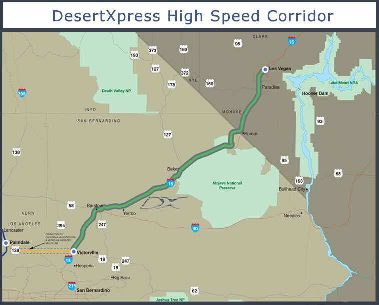 The route of the proposed DesertXpress, from the DesertXpress website. Click for larger image.