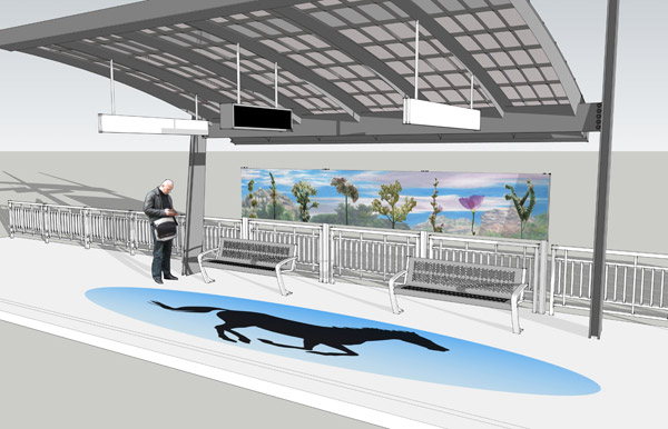 Digital rendering of Chatsworth Station, featuring a 27 foot long mosaic ellipse embedded in the concrete platform and a 20 foot long porcelain enamel art panel situated above the seating area.