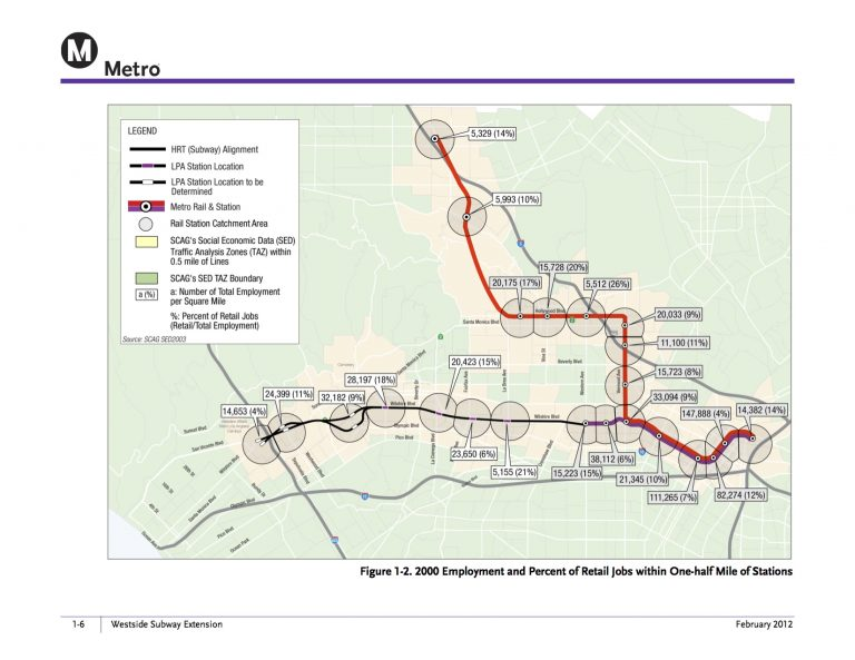Jobs near the future Westside Subway Extension. Click above for a larger map.