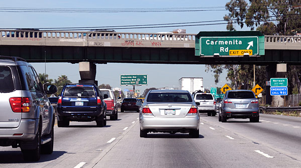 The Alondra Boulevard Bridge spans the 1-5 South Corridor in Santa Fe Springs. An estimated 220,000 vehicles travel this section daily.