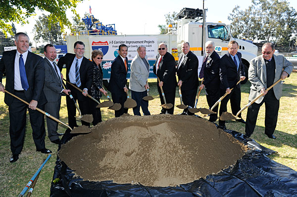 Officials break ground March 19 to launch the I-5 HOV Widening and Alondra Boulevard Bridge Project, the second of six segments of the I-5 South Corrdior Improvement Projects.