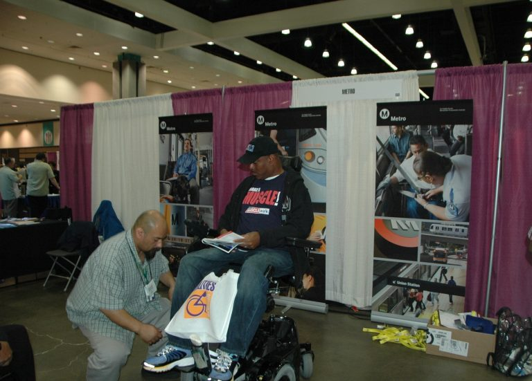 A wheelchair getting pre-marked for securement.