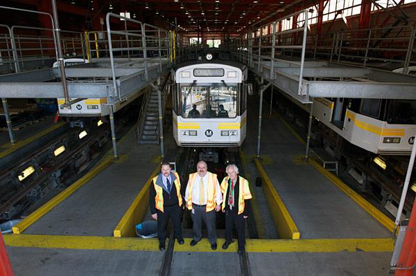 Rail Fleet Services team oversee the rail car overhaul program at the Metro Blue Line maintenance facility. From left, Brian Rydell, Nick Madanat, Russell Homan. Photos by Gary Leonard.