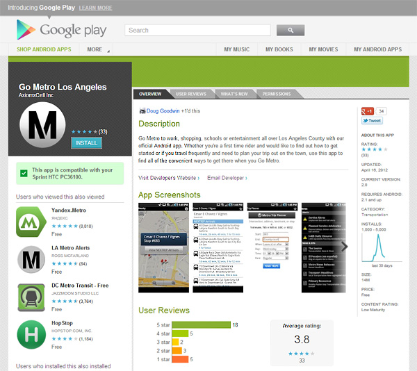 Go Metro app in Google Play
